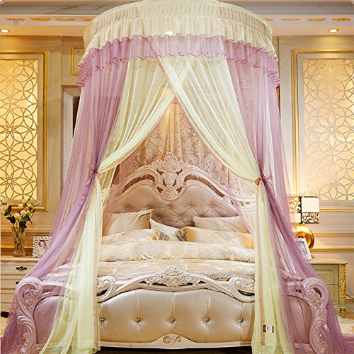 Canopy Tent Color (Per Extra-Large Princess Dome Netting Curtains Spell Color Hanging Canopy Play Tent Mosquito Net For Bedroom Height 270cm/106.29in,Dome Diameter 150 cm/59.05in-Pink+Yellow)