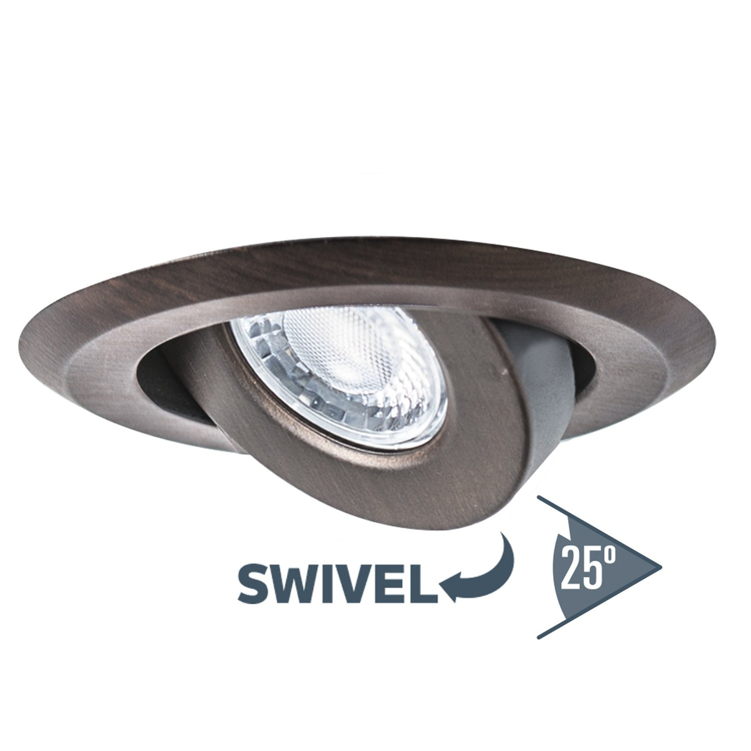 White LED GU10 550 Lumens Bulb Included Nadair GU378L-SWWH 4in LED Swivel Dimmable Downlight Recessed Light IC Rated 4in 3000K Warm White