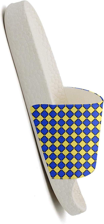 MIJIIE Mens Slides Shoes Funny Plaid Printing Diamond Blue Yellow Sandals Extra-Soft Bathroom Slippers