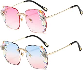 Diamond Rhinestone Sunglasses Women Men Crystal Sun Glasses Clear Lens Square Sun Glasses Vintage Shades