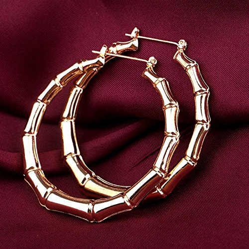 wassana Old School Punk Fashion Gold Tone Bamboo Big Hoop Hiphop Large Circle Earrings