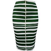 8272ffcfa48b6 Hot Gal Women s Plus Size Striped Stretchy Bodycon Pencil Evening Midi Skirt  (1X