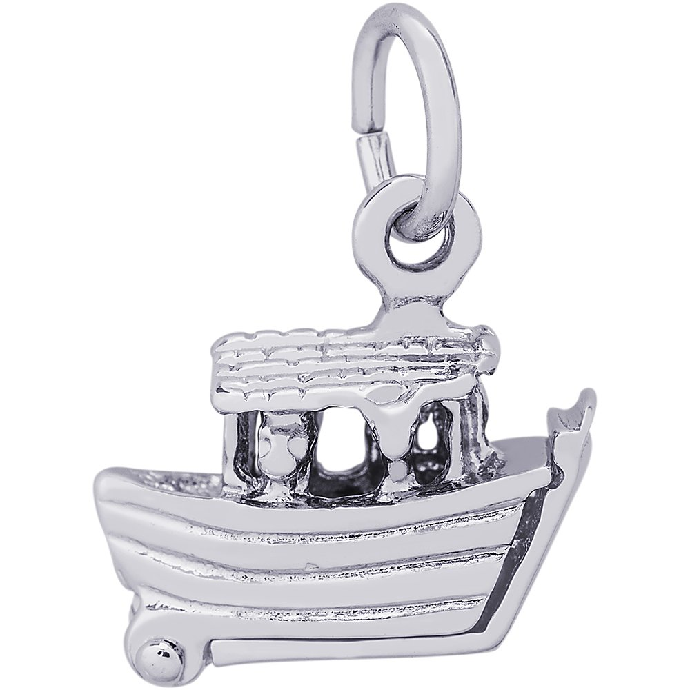 Rembrandt Sterling Silver Noahs Ark Charm on a Sterling Silver Rope Chain Necklace