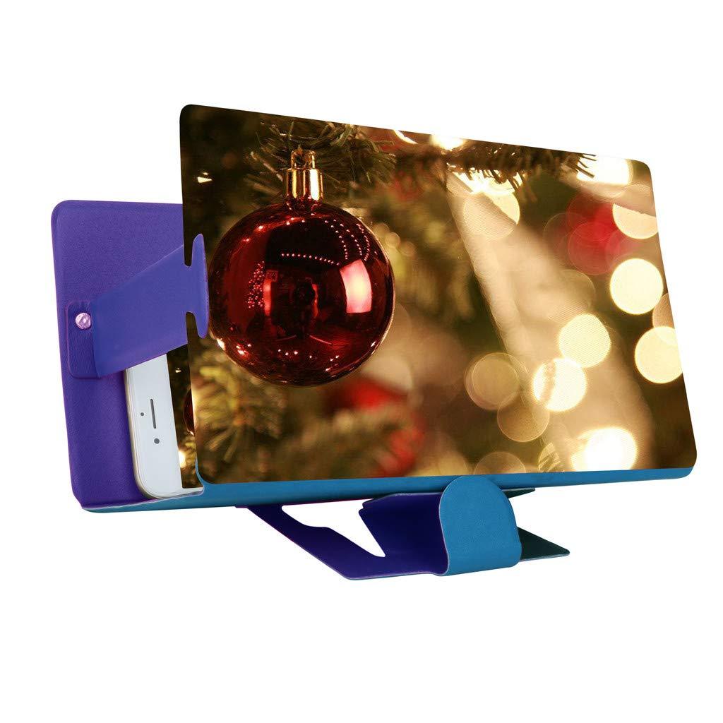 STORTO 3D Phone Screen Magnifier Stereoscopic Amplifying 8 Inch Desktop Phone Bracket (Approx. 19.2 x 12.2cm, Blue)