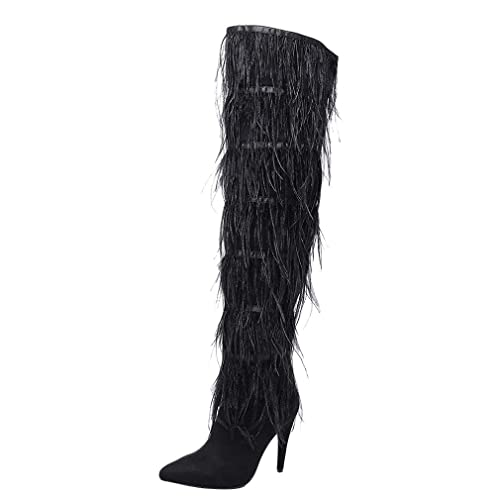 bdbf7c0ae33 Themost Women Over The Knee High Boots Ostrich Feather Pointed Toe Stilleo  High Heeled Thigh High Boots
