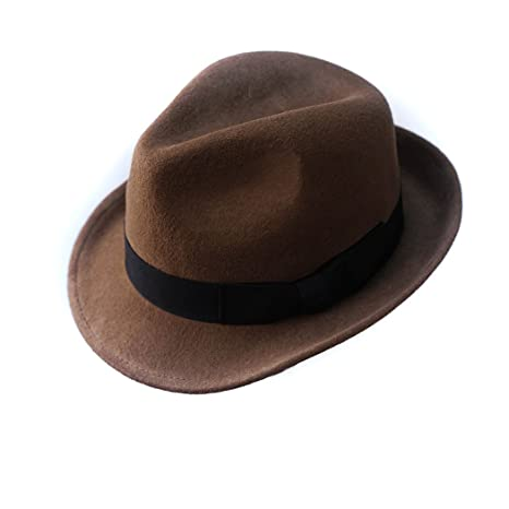 6d5fddc8b4532 Anycosy Wool Trilby Hat Man s Felt Fedora Hat Panama Classic Manhattan  Structured With Black Band