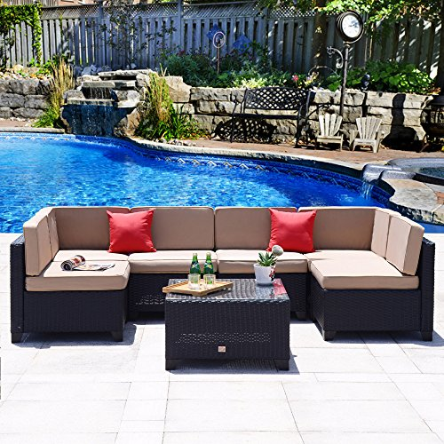 Cloud Mountain 7 PC Patio PE Rattan Wicker Furniture Set Backyard Sectional Furniture Set Outdoor Patio Garden Sofa Set, Black Rattan with Khaki Cushions (Garden Rattan)