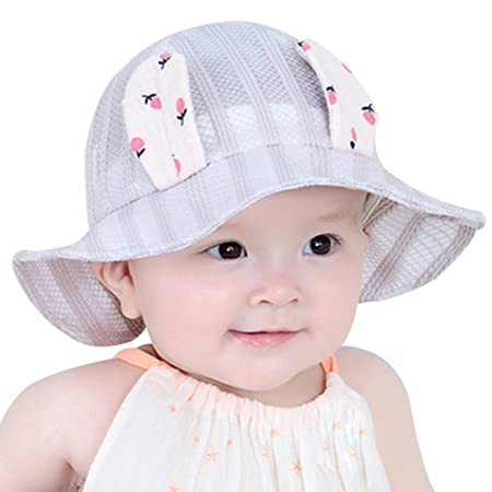dbae72ca4 Hosaire Baby Toddler Girls Large Brim Sun Hat with Chin Strap Cotton ...