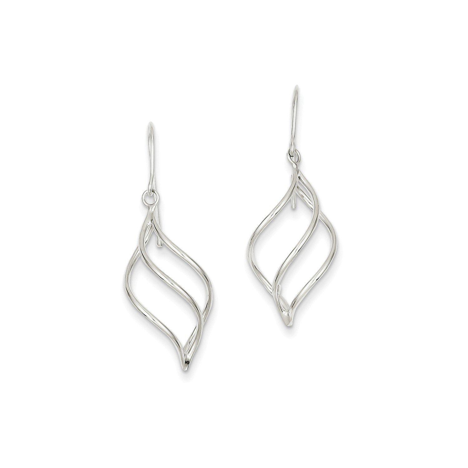 Roy Rose Jewelry 14K White Gold Polished Short Twisted Dangle Earrings