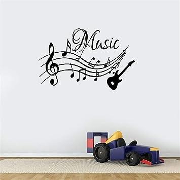 pegatinas decorativas pared Patrón de notas musicales de guitarra ...