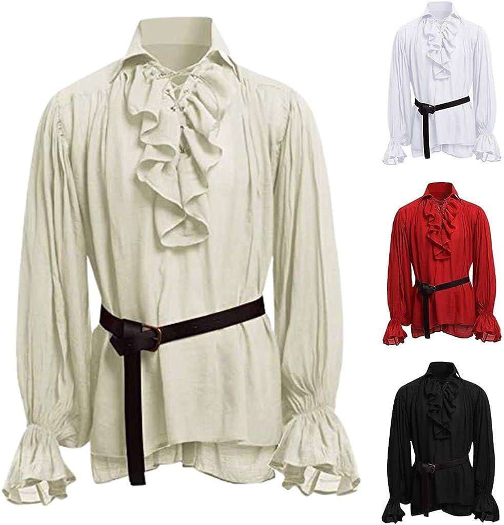 AOGOTO homme outerwear Haute Qualit/é Bandage Hommes Chemise M/éDi/évale /à Manches Longues Chemisier Gothique