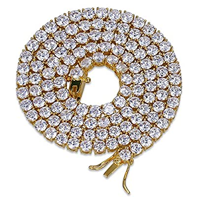JINAO 18K Gold Plated 1 Row 4MM Diamond Iced Out Chain Macro Pave CZ Hip Hop Tennis Necklace