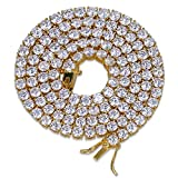 Jin'ao JINAO 18K Gold Plated 1 Row 4mm Rhinestone Iced Out CZ HipHop Tennis Chain Necklace 24''