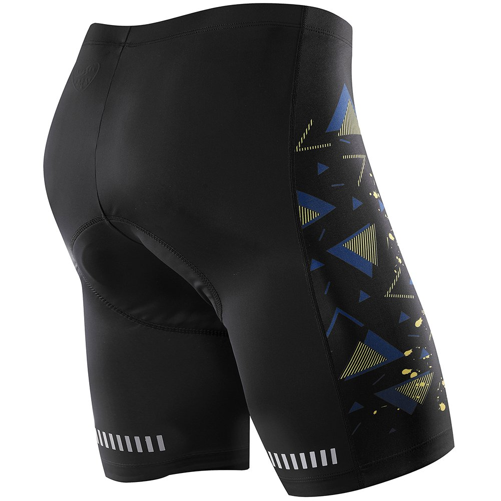NOOYME Men's Cycling Shorts 3D Gel Padded Bicycle Riding Men's Bike Shorts (M, Blue-Yellow)