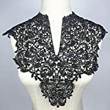 Crochet Venise Neckline Floral Collar Lace Trims Clothes Sew-on Applique Black