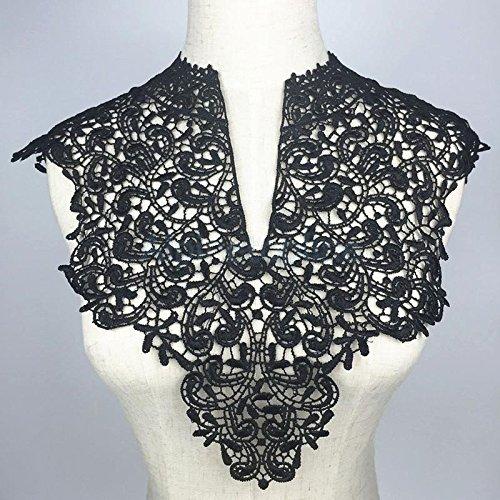 Crochet Venise Neckline Floral Collar Lace Trims Clothes Sew-on Applique Black by alpinetopline