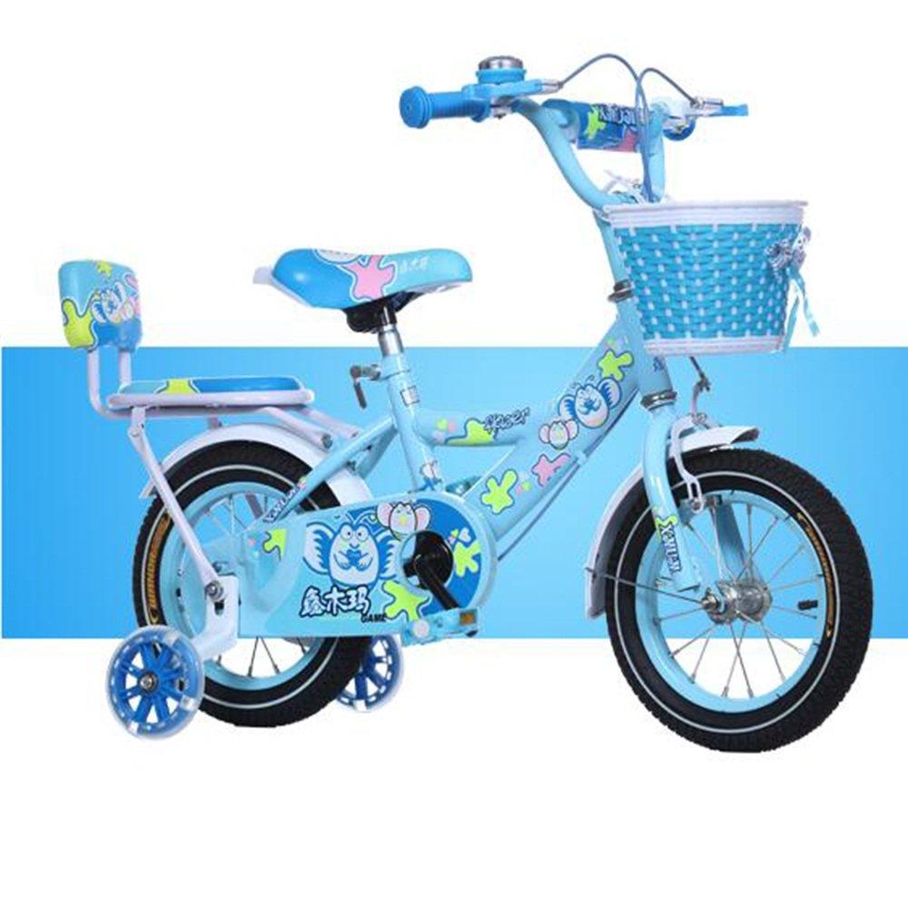 HAIZHEN マウンテンバイク ガレージバイク、バスケット、12,14,16,18インチの女の子用自転車、トレーニング用の車輪またはキックスタンド付き、子供向けのギフト、女の子の自転車 新生児 B07C3Y6H7M 14 inch|青 青 14 inch