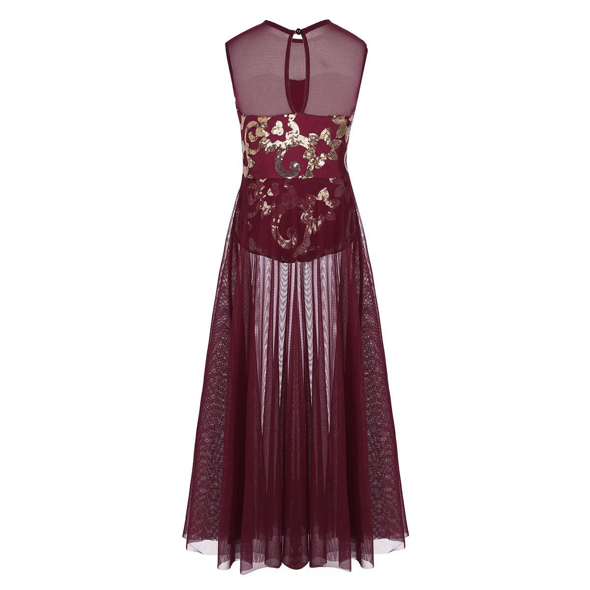 inhzoy Girls Sleeveless Floral Sequins Tank Leotard Maxi Skirt for Celebration of Spirit Praise Dance