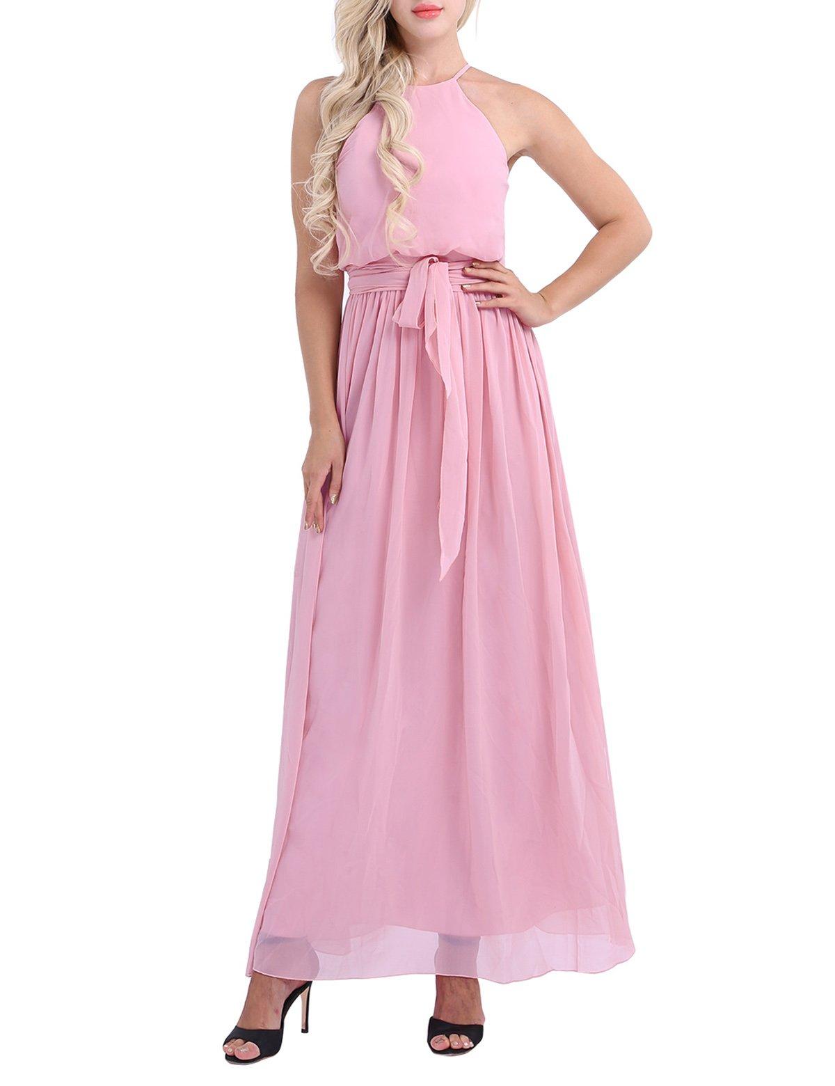 36496f05ab23 ... dresses/iiniim Women's Halter Chiffon Wedding Maxi Dress Evening Party Bridesmaid  Long Dresses Dusty Rose US Size 4. ; 
