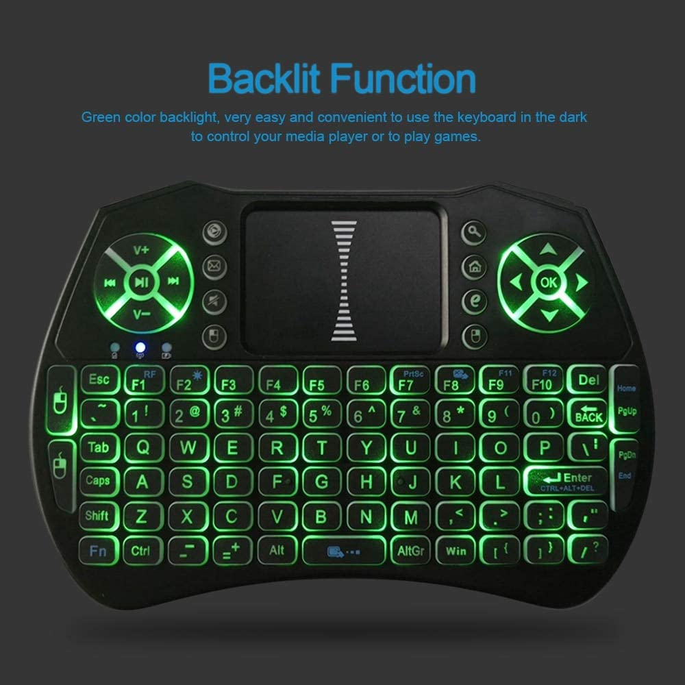 Color: Black Calvas i9 Backlit 2.4GHz Wireless Keyboard Air Mouse Touchpad Handheld Remote Control Backlight for Android TV BOX Smart TV PC Notebook