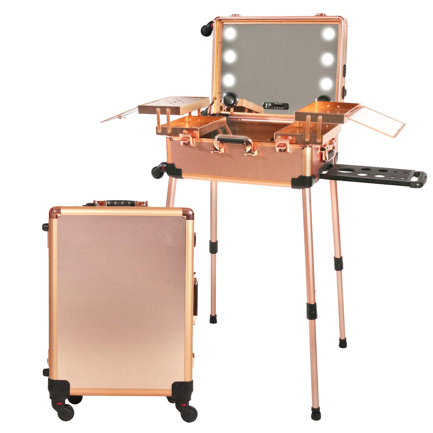 Jula Vance Makeup Train Suitcase with Built-in Lights & 3 Light Colors & Omni-Direction Wheels Lighted Rolling Travel Cosmetic Organizer, Professional Artist Trolley Studio Free Standing (Rose Golden)