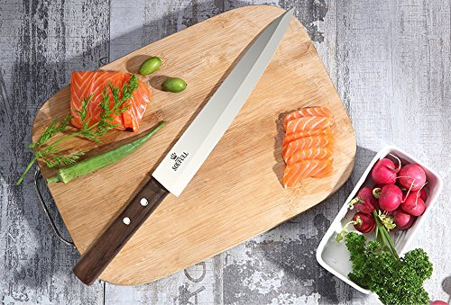 Professional Sashimi Sushi Knife,2/3 Tang Unbroken Soufull Japanese Surgical Grade stainless steel,325mm with Razor Sharp Blade, Gray Leather Wooden Handle with Double Riveted-Durable with Gift Box by Soufull (Image #3)