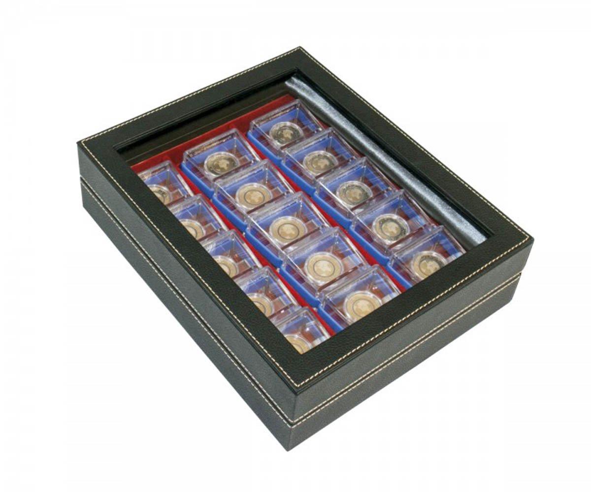 Lindner 2369-2403E Sammelkassette NERA VARIUS Plus mit hellrotem Bodeneinsatz mit 3 Flexibel unterteilbaren Fächern
