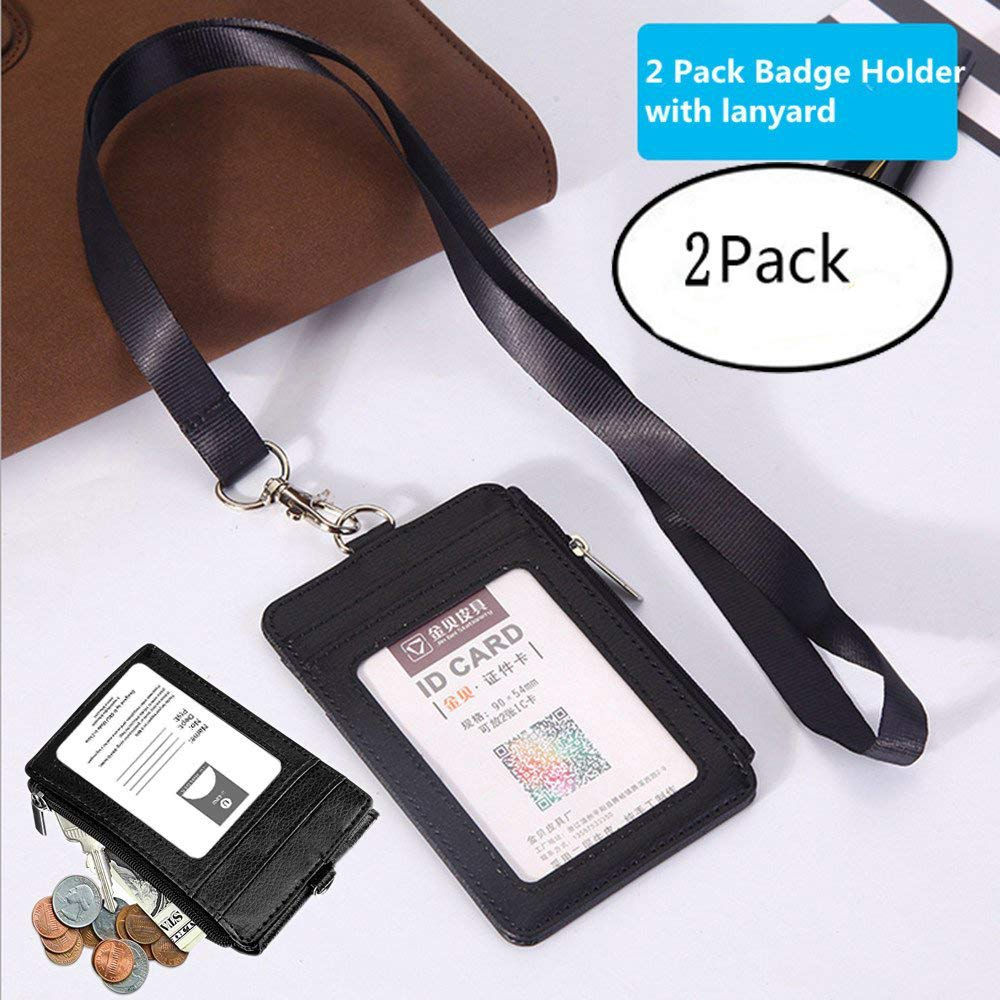 Bomach 2 Pack ID Badge Holder with Lanyard,2 Side Vertical PU Leather RFID Shielded Credit Card Badge Holder with Zipper Wallet,1 Name ID Window and 5 Blocking Card Organizer Slot for Offices ID