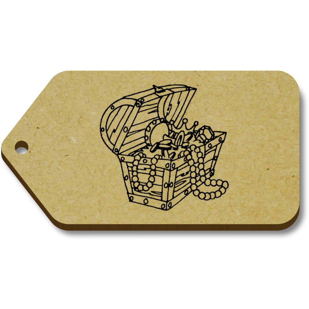 Azeeda 10 x \'Coffre au Trésor\' etiquettes de Bagage / Cadeau en Bois (TG00008436)