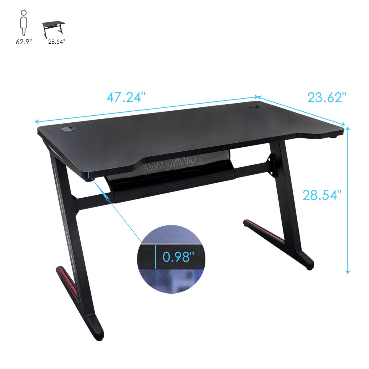 Gaming Desk Computer Table Z Shape, Bizzoelife E Sports Racing Table with LED Light Ergonomic Comfortable Height (47 Inches) by Bizzoelife (Image #5)