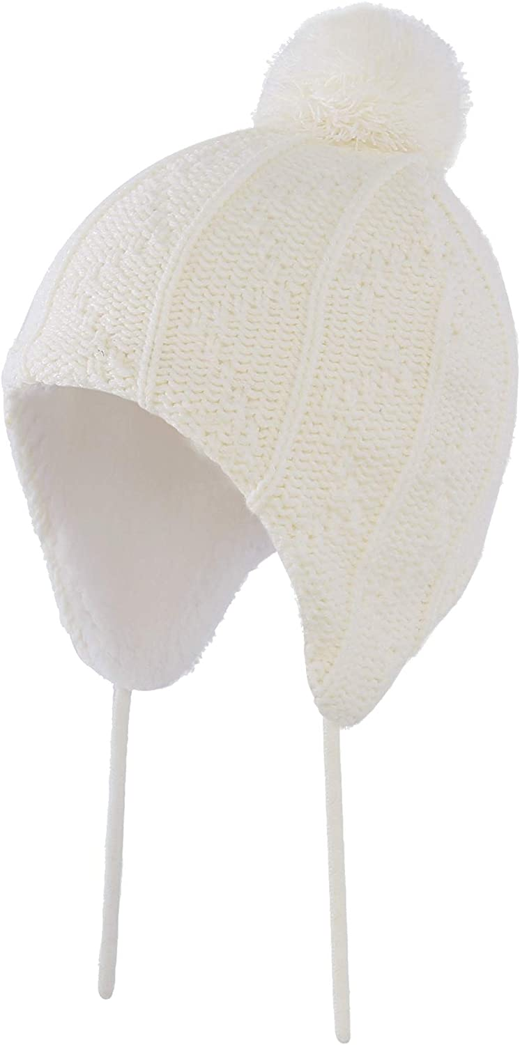 Home Prefer Toddler Girls Winter Hat with Earflaps Warm Thermal Kids Knitted Hat