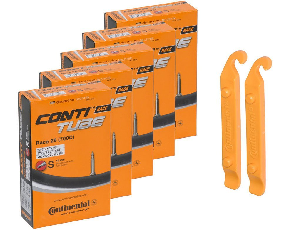 Continental Bicycle Tubes Race 28 700x20-25 S42 Presta Valve 42mm Bike Tube Super Value Bundle (Pack of 5 Conti tubes & 2 Conti tire lever) by Continental