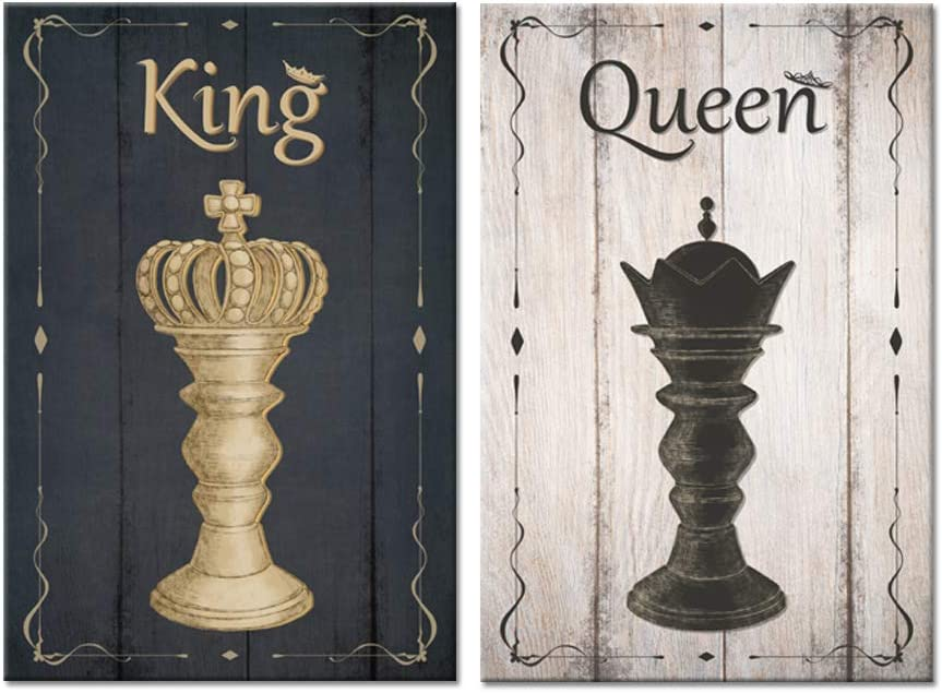 Zlove 2 Piece Black and White King and Queen Chess Set Vintage Wood Background Bishop Chess Piece Sign Poster Print For Game Room Bedroom Home Decor Stretched and Framed Ready to Hang