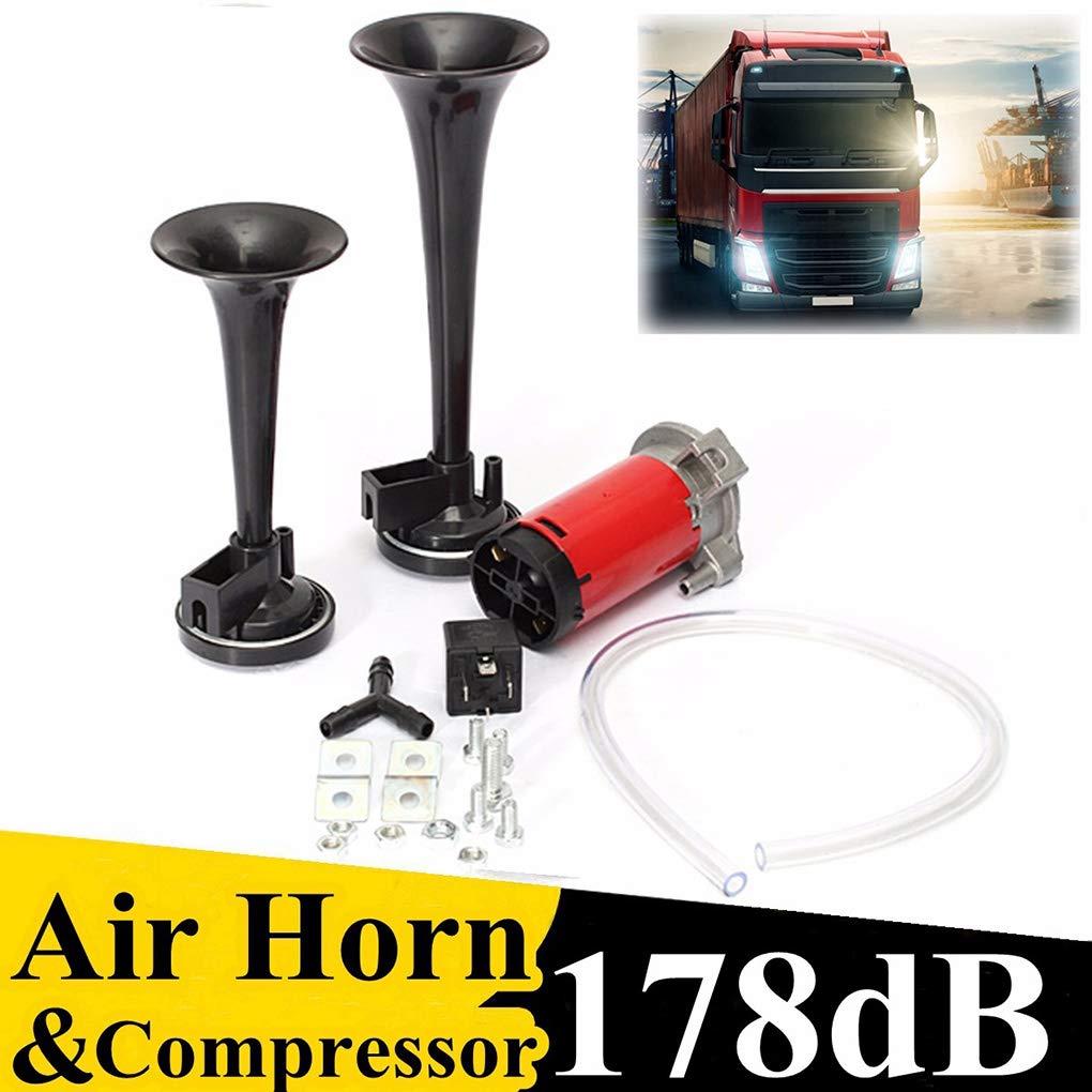 178DB Universal Super Fort Double Trompette Kit Air Horn 12V Air Compresseur de Rechange pour Bateaux Camion Train pour v/éhicules