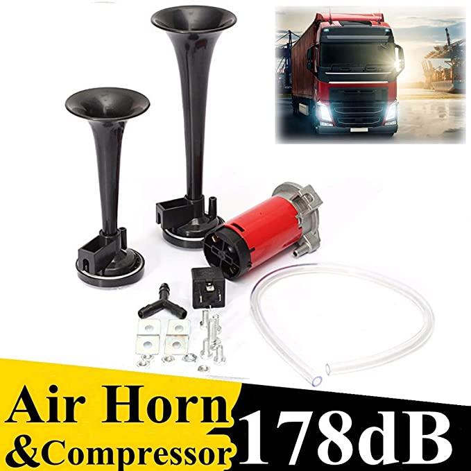 Amazon.com : Miaomiaogo Universal 178DB Super Loud Dual Trumpet Air Horn Kit 12V Air Compressor Replacement for Boat Truck Train Car Vehicle : Sports & ...