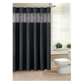 Amazon.com: Fabric Shower Curtain with Sheer Window Sequined ...