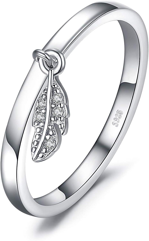 JewelryPalace Anillo Hoja Pluma encanto Plata de ley 925
