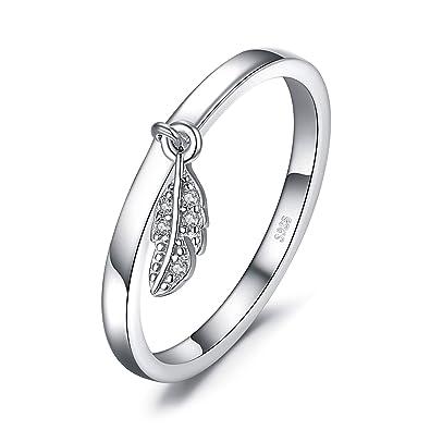 En Bague Feuille Jewelrypalace Forme Plumes Breloque D'argent De wOkiXPZTu