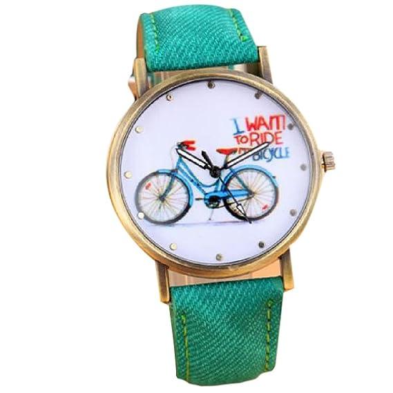 Moda bicicleta de las mujeres niñas estudiantes relojes Vintage Casual reloj de pulsera reloj de cuarzo verde: Amazon.es: Relojes