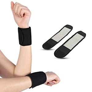Filfeel Wrist Support, 1 Pair Tourmaline Magnetic Massage Therapy Self-Heating Wrist Brace Support Protector by
