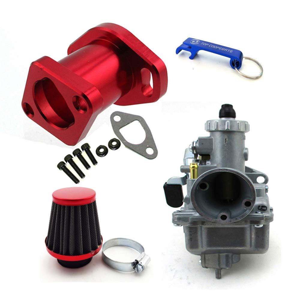TC-Motor Racing Performance Mikuni VM22-3847 Carburetor Carb Mainfold 38mm Air Filter For Predator 212cc GX200 196cc Go Kart Mini Bike (Red)