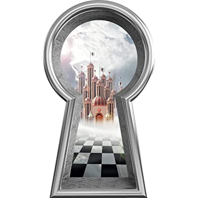 "18"" Silver Keyhole 3D Wall Decal Queen of Hearts Castle Fantasy Fairy Tale Alice in Wonderland Decor Removable Peel and Stick Mural for Kids Room - 18"" Tall x 10.2"" Wide: Home & Kitchen"