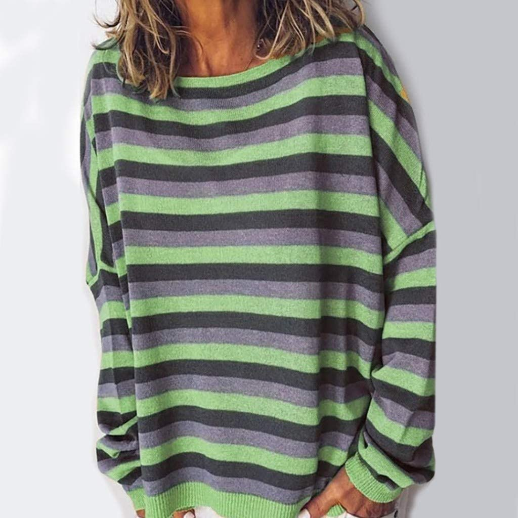Lataw Women Clothes Tops Stylish Stripe Round Neck Long Sleeve Casual Blouse Comfort Sweatshirt Leisure Sporty Tunic Costume
