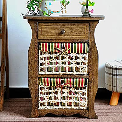 Jerry & Maggie - Nightstand Classic Countryside Dark Brown Wood - Night Stand Storage bedside table with Multi Vine Weaved Basket & 1 Drawer Real Natural Indus Wood Texture