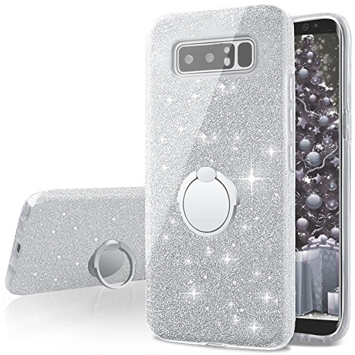 Galaxy Note 8 Case,Silverback Girls Bling Glitter Sparkle Cute Phone Case With 360 Rotating Ring Stand, Soft TPU Outer Cover + Hard PC Inner Shell Skin for Samsung Galaxy Note 8 -Silver