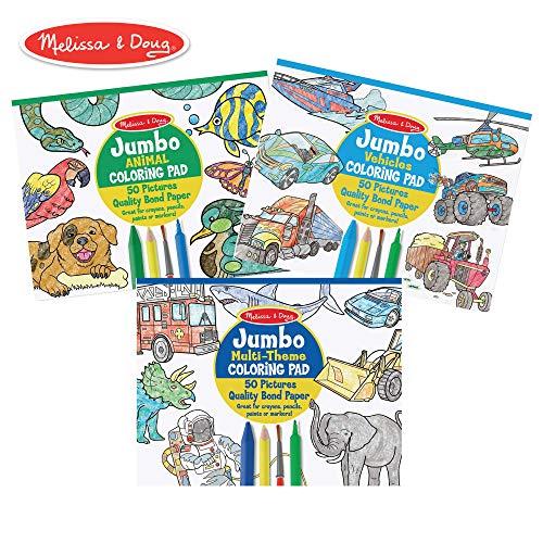 Melissa & Doug Jumbo Coloring Pad 3-Pack (Multi-Theme, Animals, Vehicles)