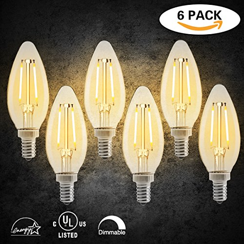 Light Chandelier Candlelight (LED Dimmable Candelabra Bulbs E12 Base LED Candle Light Bulbs Chandelier LED Bulbs 2700K Warm White C35 Shape for Indoor Decorations, 2W (20W Incandescent Bulbs Equivalent), Pack of 6)