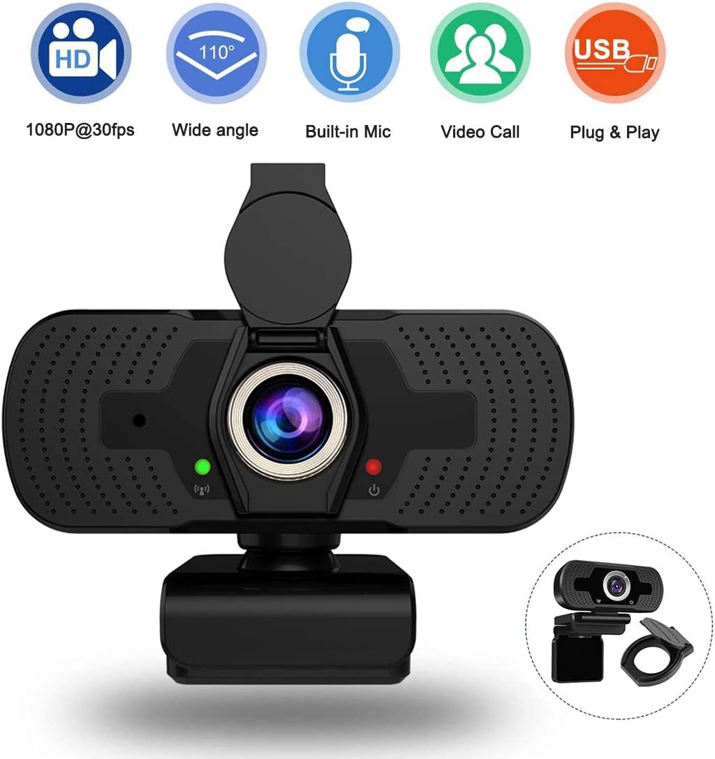 Webcam with Microphone & Privacy Cover, 1080P HD Streaming Computer Camera,Laptop Camera Video Calling Recording Conferencing (Black)