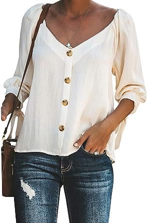 Minetom Mujer Blusa Elegante Manga Corta Camisa Suelta Casual Verano Shirts Moda Cuello En V Botón Playa Y Fiesta Top: Amazon.es: Ropa y accesorios