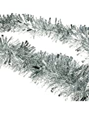 2m (6.5 Ft) Christmas Tinsel Tree Decorations Tinsel Garland (silver)